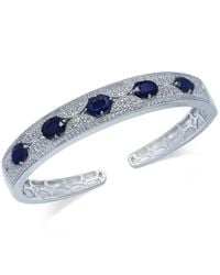 Macy's | Blue Sapphire (5 Ct. T.w.) And White Sapphire (1 Ct. T.w.) Bangle Bracelet In Sterling Silver | Lyst