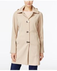 London Fog | Natural Clip-front Hooded Raincoat, Only At Macy's | Lyst