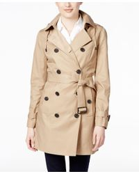 Michael Kors | Natural Michael Double-breasted Hooded Trench Coat | Lyst