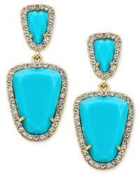 ABS By Allen Schwartz   Gold-tone Blue Stone Double-drop Earrings   Lyst