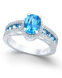 Macy's | Metallic Blue Topaz (2-3/8 Ct. T.w.) And Diamond (1/4 Ct. T.w.) Statement Ring In 14k White Gold | Lyst