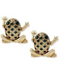 Betsey Johnson - Metallic Gold-tone Stone Frog Stud Earrings - Lyst