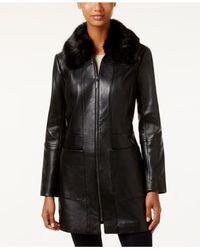 Anne Klein | Black Faux-fur-collar Leather Walker Coat | Lyst