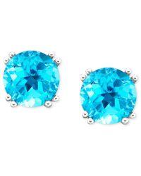 Macy's | 14k White Gold Blue Topaz Stud Earrings (4-1/2 Ct. T.w.) | Lyst