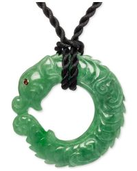 Macy's | Green Carved Jade (12 X 25 X 45mm) And Garnet Accent Satin Cord Pendant Necklace In 14k Gold | Lyst