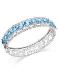 Macy's | Metallic Blue Topaz (10-1/4 Ct. T.w.) And White Topaz (1/4 Ct. T.w.) Bangle Bracelet In Sterling Silver | Lyst