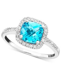 Macy's | Blue Topaz (1-3/8 Ct. T.w.) & Diamond (1/5 Ct. T.w.) Ring In 10k White Gold | Lyst