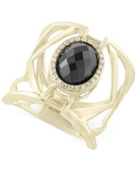 Effy Collection | Metallic Eclipse By Effy Onyx (3 Ct. T.w.) And Diamond (1/10 Ct. T.w.) Openwork Geometric Statement Ring In 14k Gold | Lyst