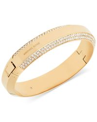 Michael Kors - Metallic Polished Pave Logo Hinged Bangle Bracelet - Lyst