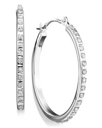 Macy's | Diamond Accent Hoop Earrings In 14k Yellow Or White Gold | Lyst