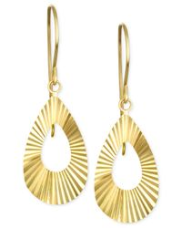 Macy's | Metallic Swiss-cut Teardrop Drop Earrings In 10k Gold | Lyst