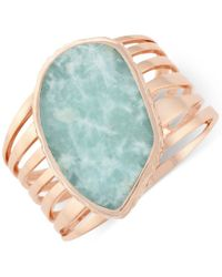 Vince Camuto | Blue Rose Gold-tone Large Green Stone Cuff Bracelet | Lyst