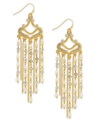 INC International Concepts - Metallic Gold-tone White Stone Fringe Chandelier Earrings, Only At Macy's - Lyst