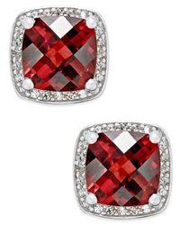 Macy's   Red Rhodolite Garnet (2-1/4 Ct. T.w.) And Diamond (1/8 Ct. T.w.) Halo Stud Earrings In Sterling Silver   Lyst