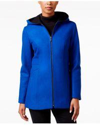 London Fog | Blue Hooded Walker Coat | Lyst