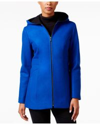 London Fog | Blue Hooded Walker Coat | Lyst