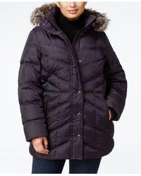 London Fog | Multicolor Plus Size Faux-fur Hooded Puffer Coat | Lyst