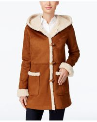Jones New York | Brown Hooded Faux-shearling Toggle Coat | Lyst