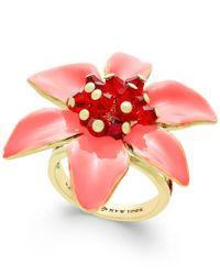 kate spade new york - Metallic Lovely Lillies Gold-tone Enamel Flower Statement Ring - Lyst
