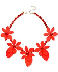 Kate Spade | Red Lovely Lillies Gold-tone Enamel Floral Statement Necklace | Lyst