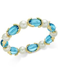 Charter Club - Metallic Gold-tone Imitation Pearl And Aqua Stone Stretch Bracelet, Only At Macy's - Lyst
