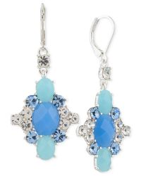 Nine West | Metallic Silver-tone Blue Stone And Crystal Drop Earrings | Lyst