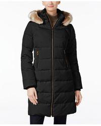 Vince Camuto | Black Faux Fur Trim Asymmetric Front Coat | Lyst