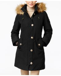 Michael Kors | Black Michael Hooded Faux-fur-trim Down Parka | Lyst