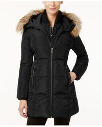 Michael Kors | Black Michael Faux-fur-trim Layered Puffer Coat | Lyst