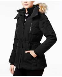 Guess | Black Faux-fur-trim Hooded Puffer Coat, Only At Macy's | Lyst