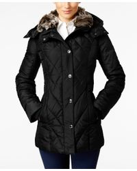 London Fog | Black Faux-fur-collar Quilted Down Coat | Lyst