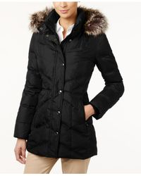 London Fog | Black Petite Faux-fur-trim Long Down Coat | Lyst