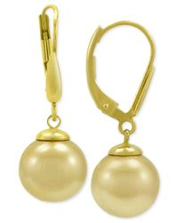 Majorica - Metallic 18k Gold Vermeil Imitation Champagne Pearl Drop Earrings - Lyst