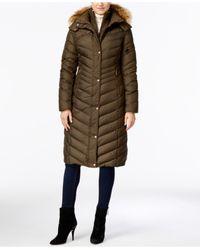 Marc New York | Multicolor Hooded Faux-fur-trim Long Down Puffer Coat | Lyst