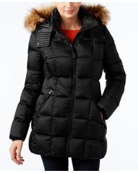 Marc New York | Black Faux-fur-trim Hooded Quilted Down Coat | Lyst