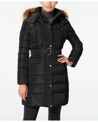 Tommy Hilfiger | Black Faux-fur-trim Hooded Belted Puffer Coat | Lyst