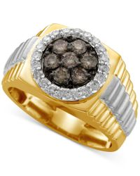 Macy's | Metallic Men's Diamond Cluster Two-tone Ring (1 Ct. T.w.) In 10k Yellow And White Gold for Men | Lyst