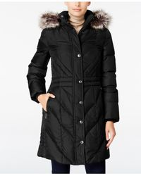 London Fog | Black Faux-fur-trim Hooded Puffer Coat | Lyst