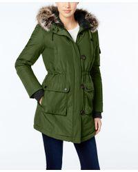 BCBGeneration | Green Faux-fur-trim Hooded Puffer Parka | Lyst