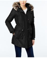 BCBGeneration | Black Faux-fur-trim Hooded Puffer Parka | Lyst