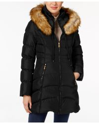 Laundry by Shelli Segal | Black Faux-fur-trim Down Puffer Coat | Lyst