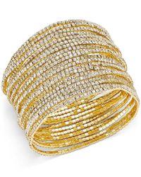 ABS By Allen Schwartz - Metallic Gold-tone Pave Crystal Stretch Bracelet Set - Lyst