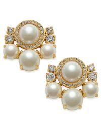 kate spade new york | Metallic Rose Gold-tone Imitation Pearl And Crystal Cluster Earrings | Lyst
