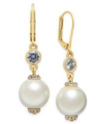 kate spade new york | Metallic Rose Gold-tone Pink Imitation Pearl Drop Earrings | Lyst
