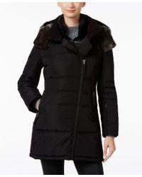 Calvin Klein | Black Faux-fur-trim Asymmetrical Water-resistant Puffer Coat | Lyst