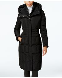 Calvin Klein | Black Hooded Layered Long Down Puffer Coat | Lyst