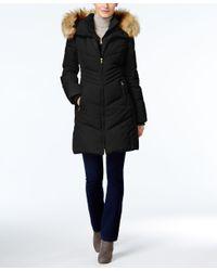 Jones New York | Black Faux-fur-trim Hooded Down Puffer Coat | Lyst