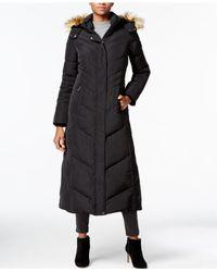 Jones New York | Black Faux-fur-collar Hooded Down Maxi Coat | Lyst
