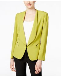 Tahari | Yellow Open-front Zip-pocket Blazer | Lyst