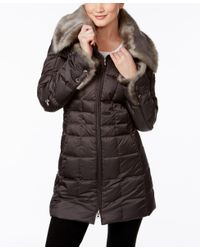 Laundry by Shelli Segal | Multicolor Faux-fur-collar Hooded Down Coat | Lyst